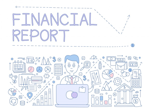 Financial report infographics. illustration