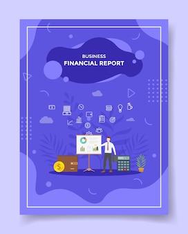 Мужчины финансового отчета представили статистические данные о прибылях и убытках для шаблона флаера