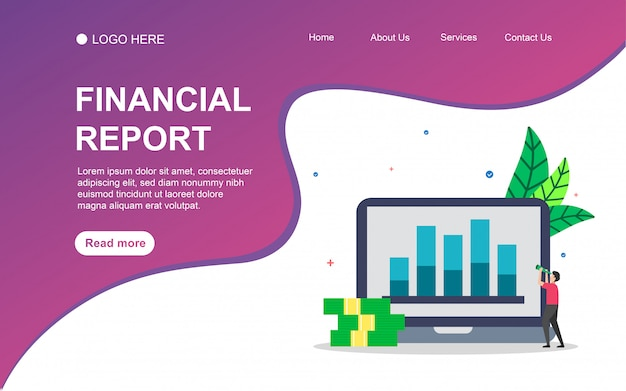 Financial report  with people character for web landing page template.