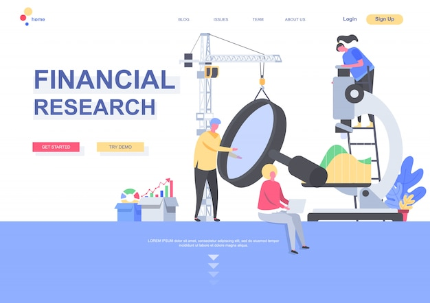 Financial research flat landing page template. analysts carefully studying data with magnifying glass and microscope situation. web page with people characters. consulting service illustration