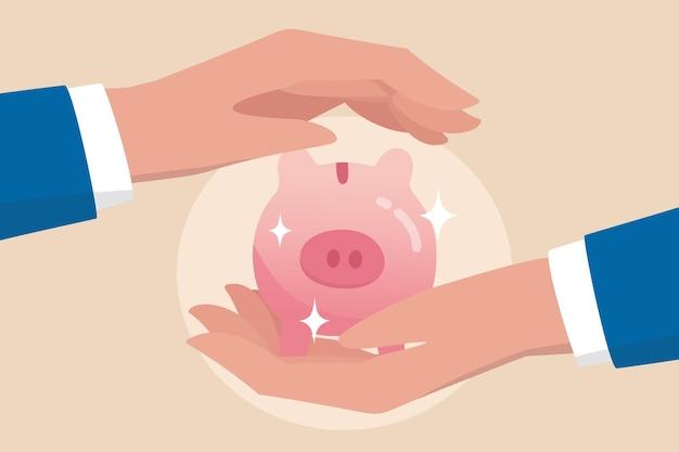 金融リスクの保証、インフレや経済危機からのお金の保護、保険、税金または富の管理の概念、強力なビジネスマンのハンドシールドは貯金箱を節約する貯金箱を保護します。