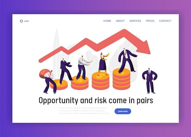 財務リスクビジネスキャラクターグラフコンセプトランディングページ。ビジネスマンはコイン投資バナーを歩きます。トラストエコノミー破産ウェブサイトまたはウェブページ。フラット漫画ベクトルイラスト