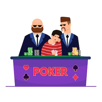 Financial risk and loss in casino, cartoon flat.