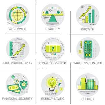 Financial security business banking growth icon set