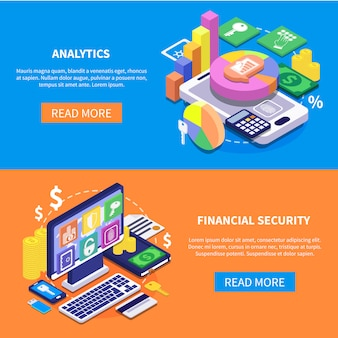 Financial security isometric banners