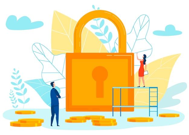 Financial security metaphor vector illustration