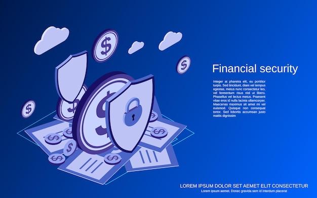 金融セキュリティ、オンラインバンキング、お金の保護フラットアイソメトリックコンセプト