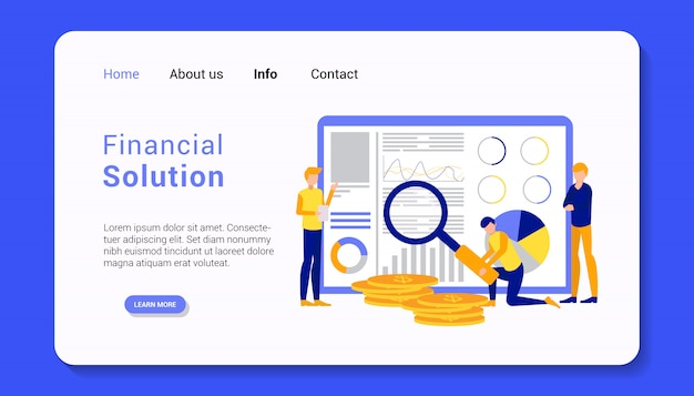 Financial solution landing page template illustration