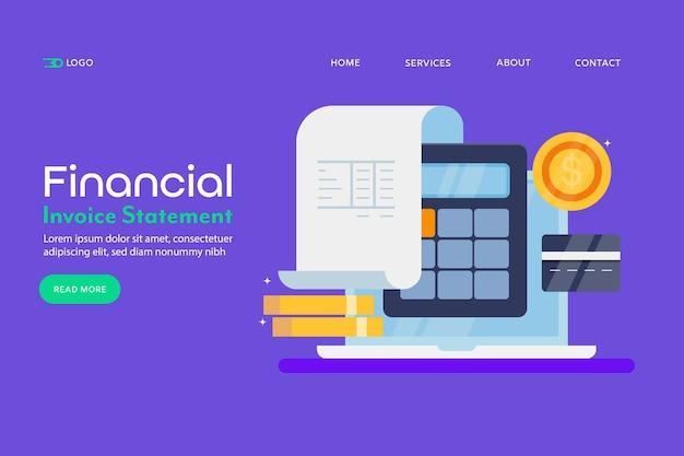 Financial statement conceptual landing page