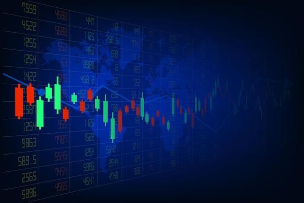 Financial stock market bar graph on world map background