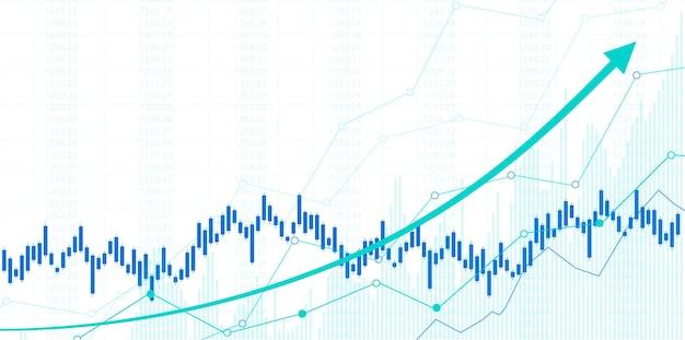 주식 시장 투자 거래에 대한 금융 주식 시장 그래프, 강세 포인트, 약세 포인트. 사업 아이디어와 모든 예술 작품 디자인을 위한 그래프의 추세. 벡터 일러스트 레이 션.