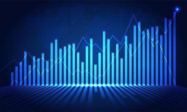 株式市場投資取引の金融株式市場グラフ、強気ポイント、弱気ポイント。ビジネスアイデアとすべてのアートワークデザインのグラフの傾向。ベクトルイラスト。
