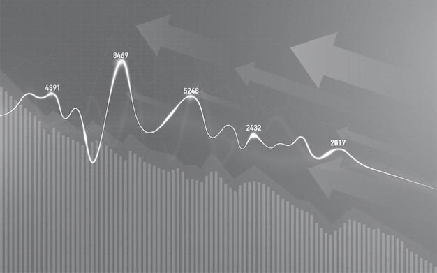 График финансового фондового рынка на инвестиционной торговле фондового рынка, бычья точка, медвежья точка. тенденция графика для бизнес-идеи и дизайна всех произведений искусства. векторные иллюстрации.