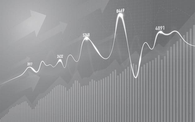 주식 시장 투자 거래에 대한 금융 주식 시장 그래프, 강세 포인트, 약세 포인트. 사업 아이디어와 모든 예술 작품 디자인에 대한 그래프의 추세. 벡터 일러스트 레이 션.