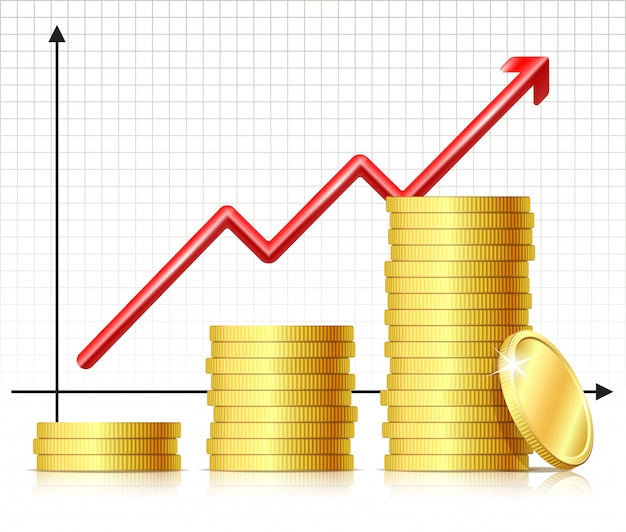 Financial success concept - graph with coins.   of growing pile coins and rising chart arrow