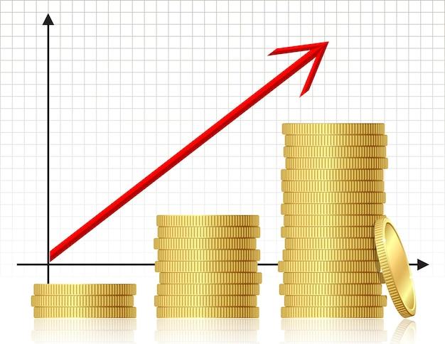 금융 성공 개념-동전 그래프입니다. 벡터.
