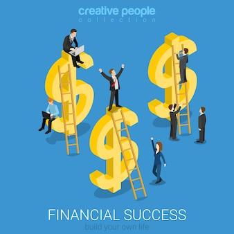 Concetto di affari isometrici piatto successo finanziario