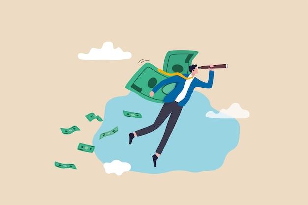 経済的な成功、投資機会、お金の管理と富の保存の概念から利益を上げ、将来のビジョンを見るために望遠鏡を使用してお金の紙幣の翼で飛んでいる金持ちの実業家。