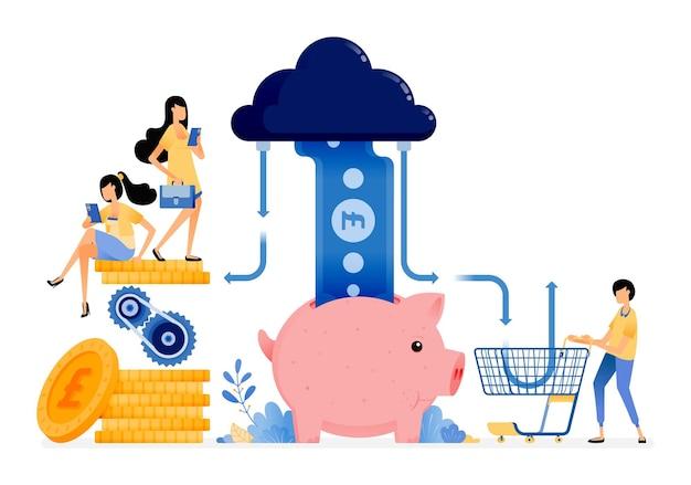 쇼핑, 저축 및 거래를위한 금융 시스템