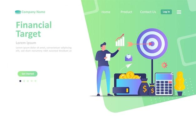 Financial target, dartboard with arrow,