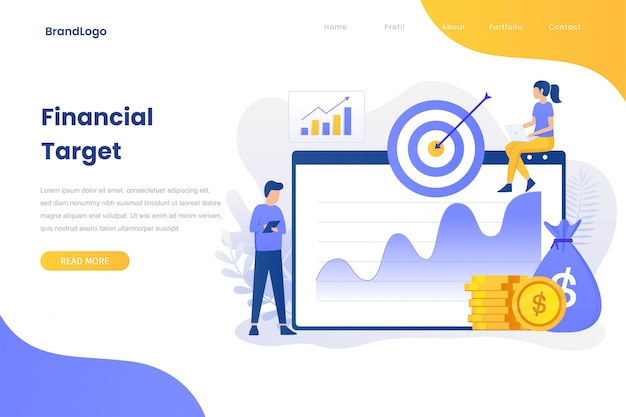 Financial target flat concept for site landing page