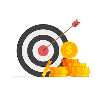 Financial target goal marketing business idea and achievement vector illustration isolated