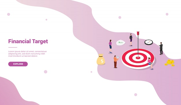 Financial target goals for website template or landing homepage with isometric style