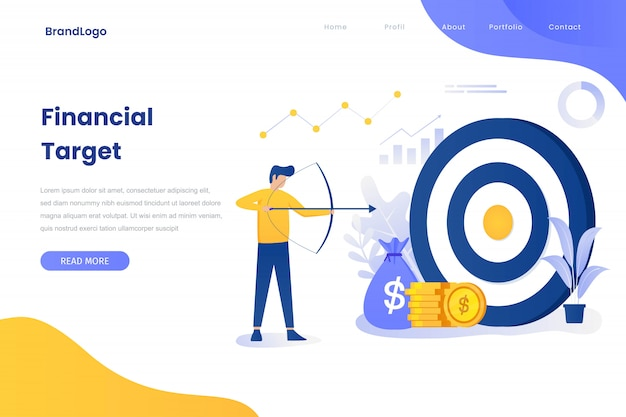 Financial target illustration concept landing page