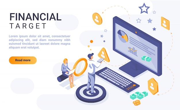 Financial target landing page banner  with isometric illustration