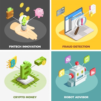 Financial technology 2x2 design concept