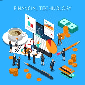 Financial technology isometric composition