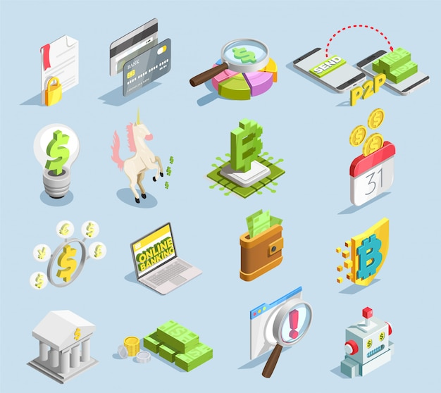 Financial technology isometric set