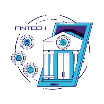 Financial technology set icons vector illustration design