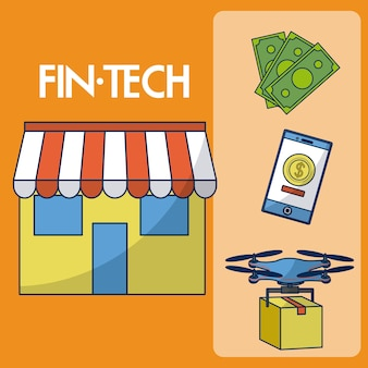 Financial technology set of icons vector illustration graphic design