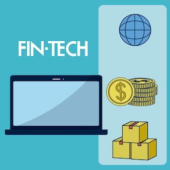 金融技術アイコンのベクトル図イラストのグラフィックデザインのセット