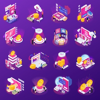 Финансовые технологии набор изометрических иконок с жаром на фиолетовый изолированные