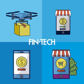 Financial technology square frames collection vector illustration graphic design