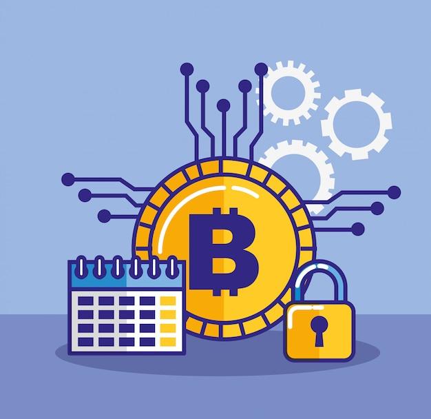 ビットコインのアイコンが付いた金融テクノロジー