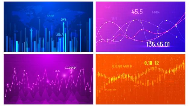 금융 트렌드 화면, 투자 그래프 및 추상 데이터 와이드 스크린 차트 벡터 일러스트 레이 션 세트