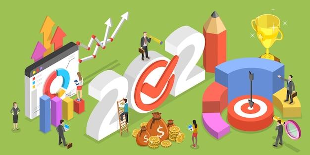 Финансовый год, бизнес-планирование и анализ данных. изометрические плоские концептуальные иллюстрации.