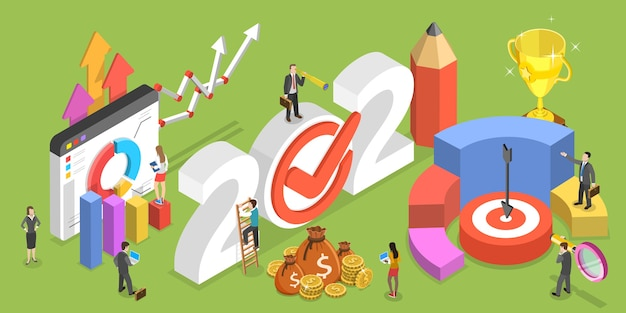 Financial year, business planning and data analysis.  isometric flat  conceptual illustration.