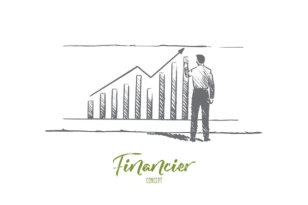 Financier concept. hand drawn businessman builds graphics. male finane analyst isolated illustration.