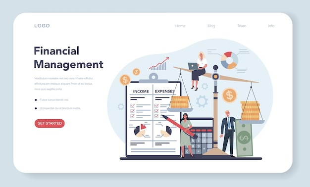 Financier web template or landing page concept.