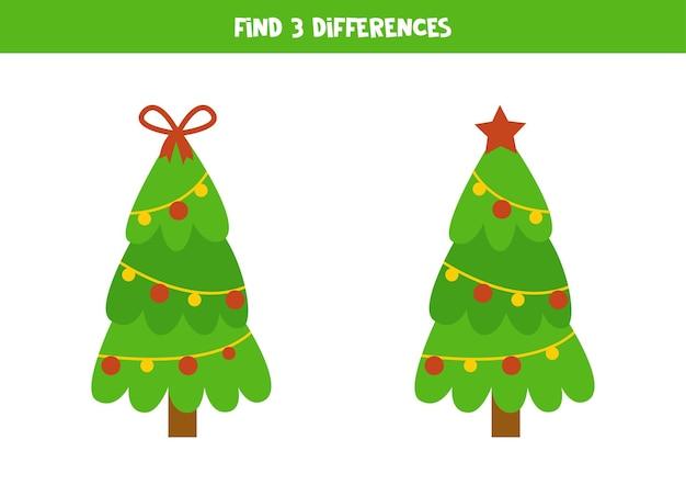 2つのかわいいクリスマスツリーの3つの違いを見つけてください。