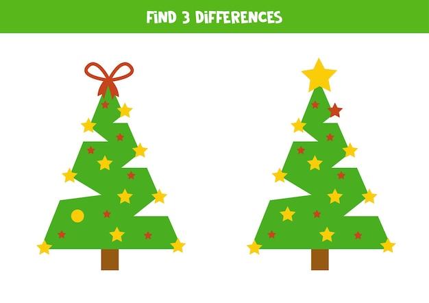 두 개의 귀여운 크리스마스 트리에서 3가지 차이점을 찾으세요.