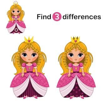 Найди 3 отличия между двумя принцессами