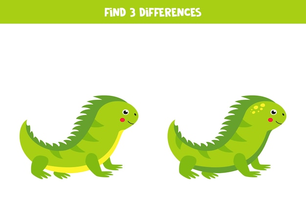 Find 3 differences between two cartoon green iguanas.