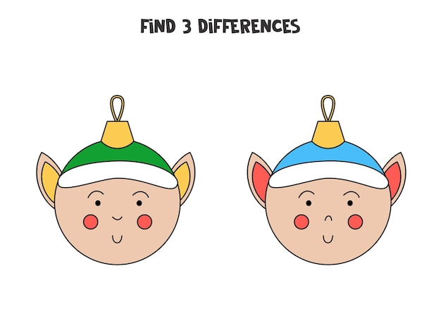 Find 3 differences between two cute christmas balls.