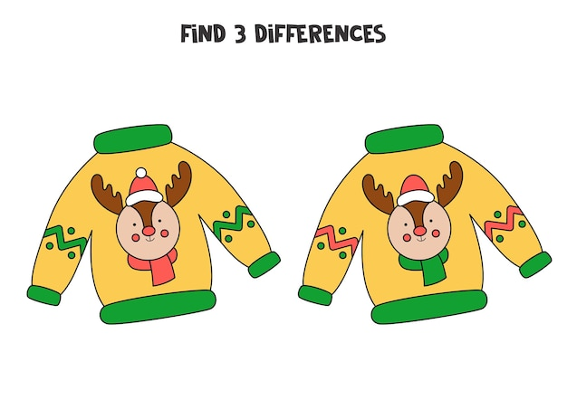 Find 3 differences between two cute christmas sweaters.