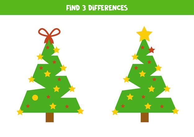 Find 3 differences between two cute christmas trees.